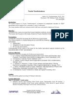 Fourier Transform Syllabus 3-15-2017