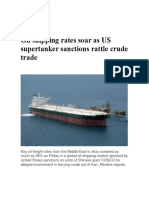 Oil shipping rates soar as US supertanker sanctions rattle crude trade