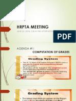 Hrpta Meeting for First Quarter