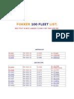 Fokker 100 Fleet List