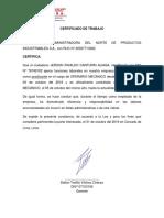 Certificado de Trabajo Canturin