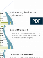 1.a. Formulating Evaluative Statements.