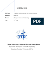 Analysis of algorithms lab manual
