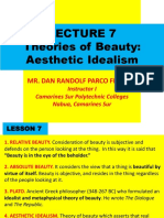 Lecture 7. (Theories of Beauty) Aesthetic Platonism