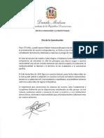 Mensaje del presidente Danilo Medina con motivo del 175 aniversario de la Constitución de la República