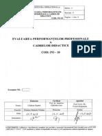 Procedura Evaluare Performanțe Profesionale Cadre Didactice