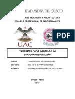 Métodos Para Calcular La Evapotranspiración- Choquetinco