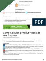 Como Calcular a Produtividade Da Sua Empresa