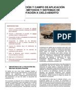 Clasificación y Campo de Aplicación de Los Métodos y Sistemas de Explotación a Cielo Abierto (1)