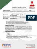 Certificado de Calidad y Garantia-Aditivos Especiales Sac