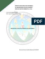 Análisis de La Política Forestal de Guatemala