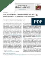 Crise No Financiamento à Pesquisa e Desafios Para RBCE