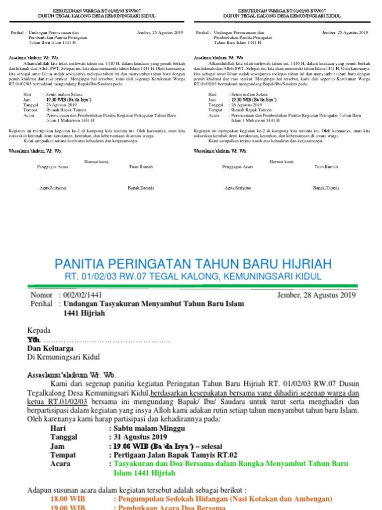 Contoh Undangan 20 Muharram Tahun Baru Islam   PDF