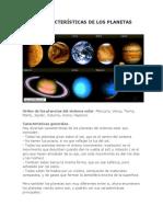 Las Características de Los Planetas