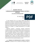 I JORNADAS DE INVESTIGACIÓN EN LENGUA, CULTURA E IDENTIDAD 14 y 15 de noviembre de 2019