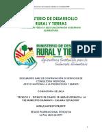 TECNICO V - TECNICO DE CAMPO 15 UNIDAD OPERATIVA  LA PAZ MUNICIPIO CARANAVI – CALAMA ELEVACION