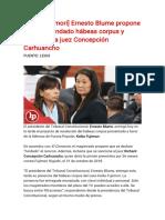 [Keiko Fujimori] Ernesto Blume propone declarar fundado hábeas corpus y sancionar a juez Concepción Carhuancho