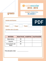 Examen Trimestral Primer Grado BLOQUE1 2018-2019
