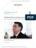 Parlamentarismo Vai Ressurgir Como Carta Na Manga - 30-03-2019 - André Singer - Folha