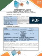 Guía de actividades y rúbrica de evaluación - Fase 2 - Implementar métodos para evaluación del proyecto sostenible.docx
