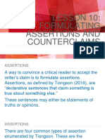 Formulating Assertions and Counterclaims