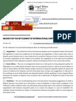 Settlement of International Disputes