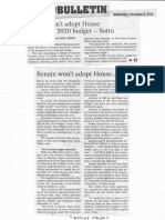 Manila Bulletin, Nov. 6, 2019, Senate wont adopt House version of 2020 budget - Sotto.pdf