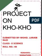 KHO KHO Class 12 Physical Education