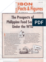 The Prospoects of Philippine Food Security Under the WTO