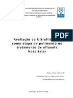 Ultrafiltração efluente hospitalar