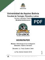 Metodologia de La Investigacion - Work Paper de La Materia