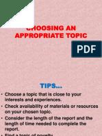 Choosing an Appropriate Topic