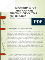 Hiring Guidelines for Teacher i Positions Effective School