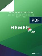 Programa Electoral Elecciones Generales 2019 10N