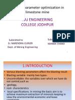 Parameter for Limestone Mine Optimization