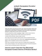 6 Tips Menambah Kecepatan Koneksi Internet Di Windows