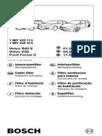 Manual Instalare Filtru Cabina Bosch - Ford Focus - Volvo