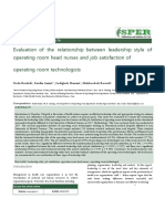 Evaluation of the Relationship Between Leadership Style of Operating Room Head Nurses and Job Sati