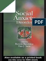 (Medical psychiatry 29) Borwin Bandelow, Dan J. Stein - Social Anxiety Disorder-Marcel Dekker (2004).pdf