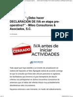 Consultas_ ¿Debo Hacer DECLARACIÓN de IVA en Etapa Pre-operativa