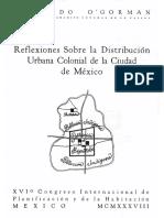 Reflexiones sobre la distribución urbana colonial de la Ciudad de México. Edmundo O'Gorman