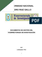 Reglamento FINAL de Investigacion Vicerectorado - UNPRG-2016