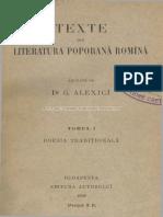 Texte Din Literatura Poporană Română 1899