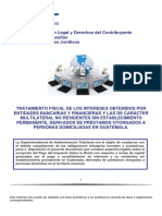 Tratamiento Fiscal de Los Intereses Obtenidos Por Entidades Bancarias y Financieras y Las de Carácter Multilaterial No Residentes Sin Establecimiento Permanente Derivados de Préstamos Otorgados a Personas Domiciliadas en Guatemala