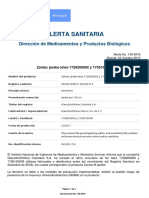 Alerta No_ #149-2019 - Zantac jarabe lotes 1728200002 y 1726100008
