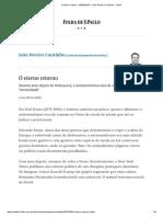 O Eterno Retorno - 03-05-2019 - João Pereira Coutinho - Folha