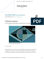 O Brasil Irá à Guerra - 10-06-2019 - Luiz Felipe Pondé - Folha