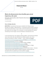 Morte Da Democracia Virou Bordão Para Atrair Imprensa, Diz Autor - 11-05-2019 - Ilustríssima - Folha