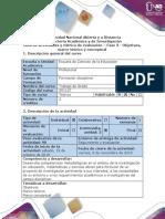 Guía de actividades y rúbrica de evaluación - Fase 3 - Objetivos, marco teórico y conceptual