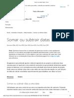 Somar Ou Subtrair Datas - Excel